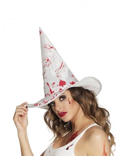 Chapeau sorcière blanc ensanglanté adulte