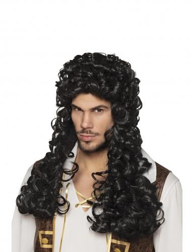 Perruque longue et bouclée capitaine noire adulte
