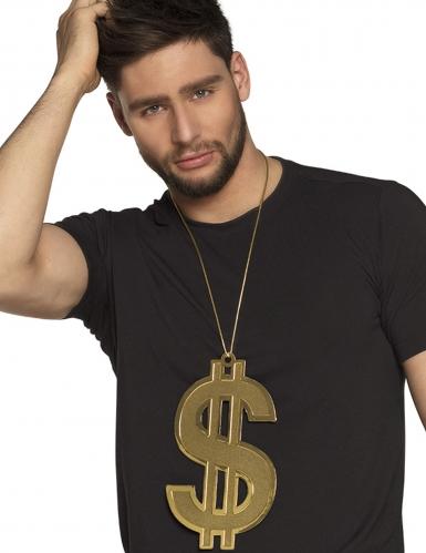 Collier dollars 24 cm XL doré adulte