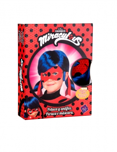 Coffret perruque et masque Ladybug™ enfant-1