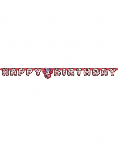 Guirlande Happy Birthday personnalisable Minnie Mouse™ 1,8 m