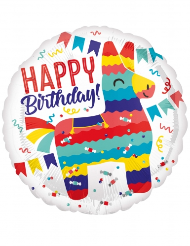 Ballon aluminium Happy Birthday lama 43 cm