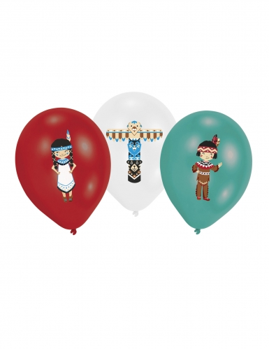 6 Ballons en latex Tippie des tribus rouge, blanc et menthe 27,5 cm