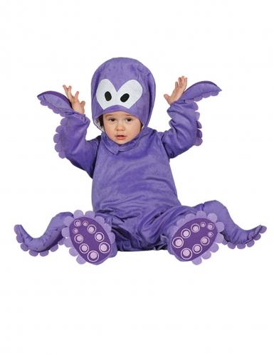 Déguisement combinaison avec capuche poulpe violet bébé