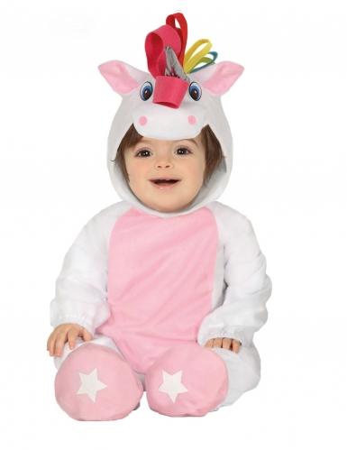 Déguisement combinaison avec capuche licorne blanche bébé