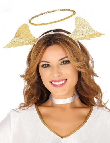 Serre-tête d'ange or avec ailes femme
