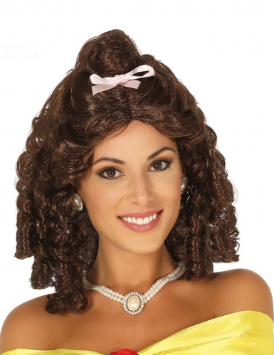 Perruque princesse brune avec anglaise et noeud rose femme