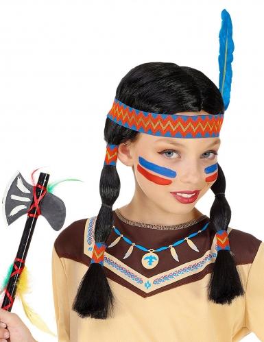 Perruque indienne avec bandeau et plume enfant-1