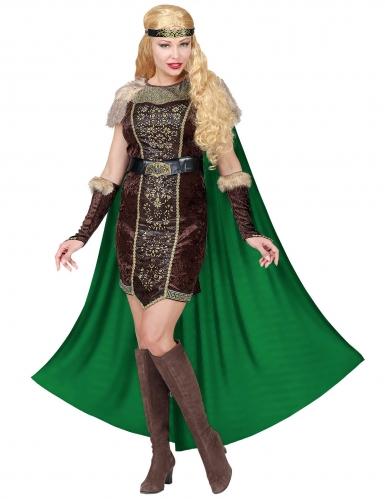 Déguisement viking fourrure avec cape femme-1