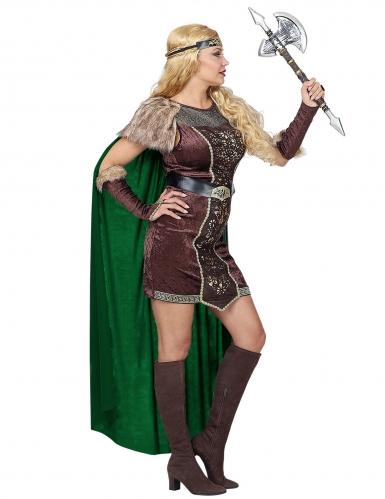 Déguisement viking fourrure avec cape femme-2