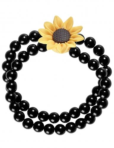 Bracelet perles tournesol hippie noir adulte