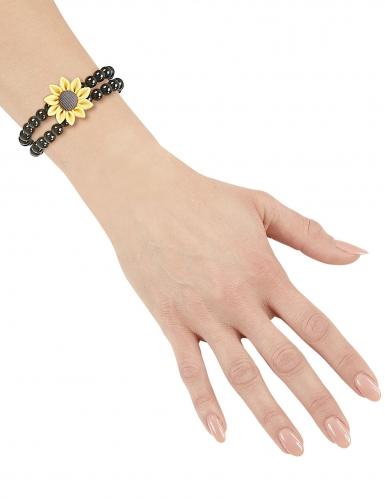Bracelet perles tournesol hippie noir adulte-1
