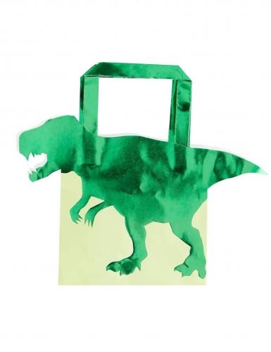5 Sacs cadeaux en papier dinosaure verts métallisés 22,5 cm