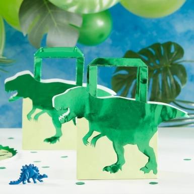 5 Sacs cadeaux en papier dinosaure verts métallisés 22,5 cm-1