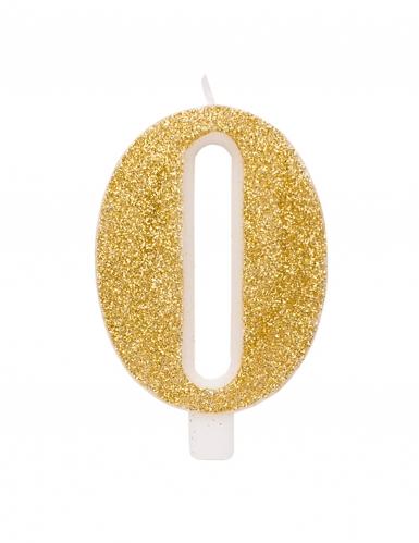 Bougie anniversaire chiffre dorée pailletée 9,5 cm