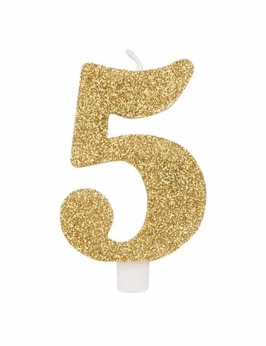 Bougie anniversaire chiffre dorée pailletée 9,5 cm-5