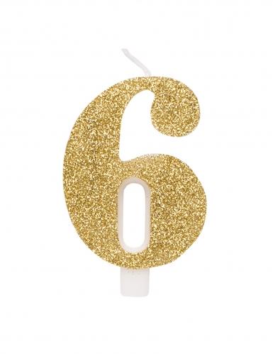 Bougie anniversaire chiffre dorée pailletée 9,5 cm-6