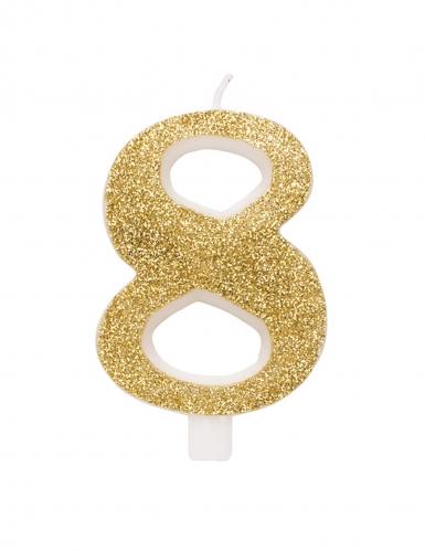 Bougie anniversaire chiffre dorée pailletée 9,5 cm-8