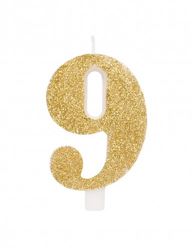 Bougie anniversaire chiffre dorée pailletée 9,5 cm-9