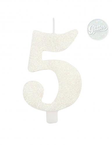 Bougie anniversaire chiffre blanche pailletée 9,5 cm-5