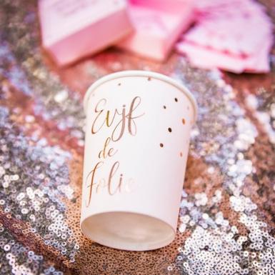 8 Gobelets en carton EVJF de folie rose gold 255 ml-1