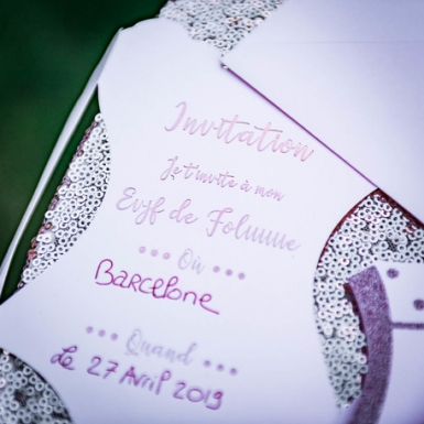 8 Invitations bustier EVJF rose gold et paillettes 11,5 x 18 cm-3