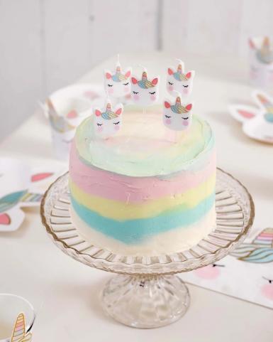 5 Bougies d'anniversaire tête de licorne-1