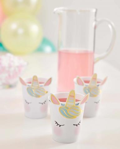 8 Gobelets en carton jolie licorne blancs-2