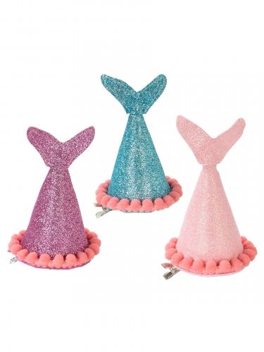 3 Chapeaux de fête sirène pailletés