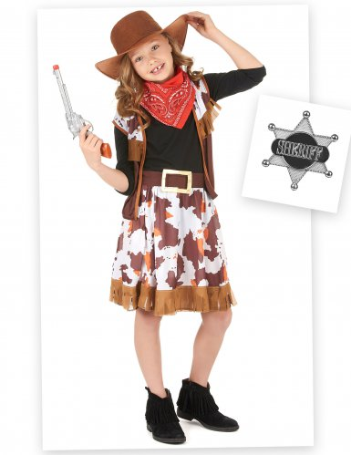 Pack déguisement cowgirl fille avec accessoires