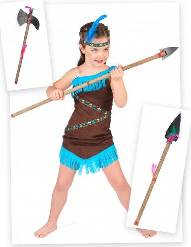 Pack déguisement d'indienne avec lance  et hache fille