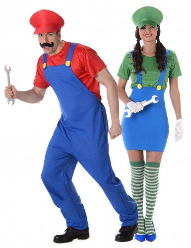 Déguisement de couple plombier vert et rouge adulte