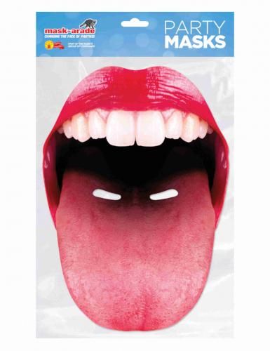 Masque en carton bouche géante tirant la langue adulte