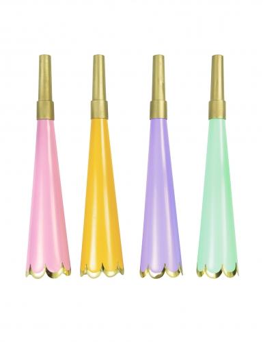 4 Trompettes de fête colorés métalliques