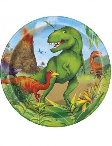 8 Petites assiettes en carton dinosaures 18 cm