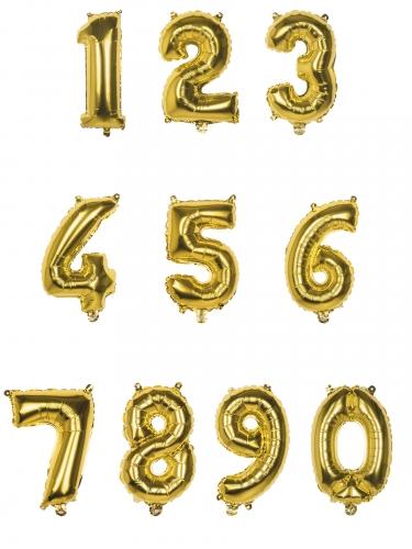 Ballon aluminium chiffre doré 35 cm-1