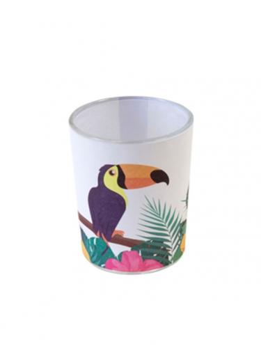 Photophore en verre toucan 6,5 x 5,5 cm