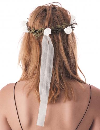 Couronne de fleurs blanches adulte-1
