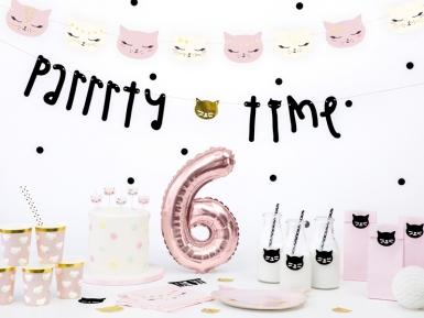 6 Bougies d'anniversaire chaton blanches et roses 2 cm-2
