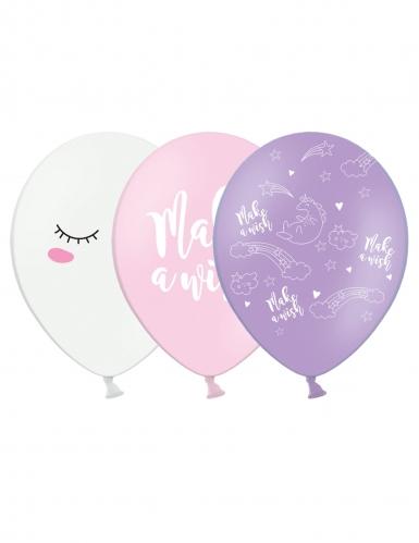 6 Ballons en latex licorne 30 cm