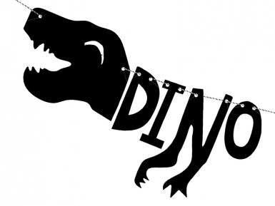 Guirlande en carton squelette dino party noire 90 x 20 cm-1