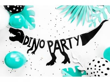 Guirlande en carton squelette dino party noire 90 x 20 cm-2