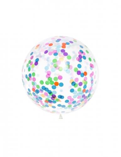 Ballon en latex géant transparent avec confettis multicolores 1 m