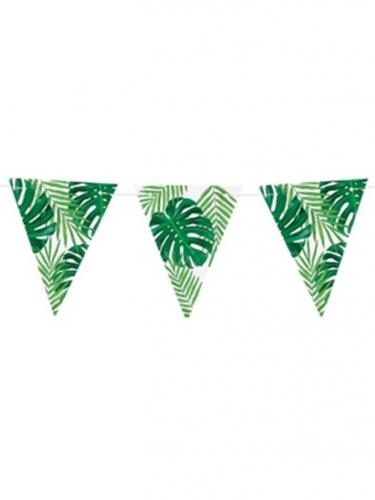 Guirlande de fanions en carton feuilles tropicales 15 cm x 1,3 m