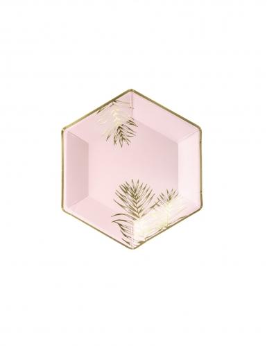 6 Assiettes en carton hexagonales tropical roses et dorées 23 cm
