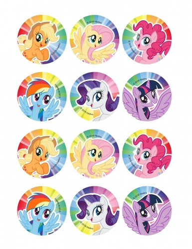 12 Décorations en sucre pour biscuits My Little Pony™ 6 cm
