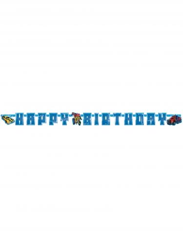 Guirlande en carton Happy Birthday Transformer™ 180 x 15 cm-1