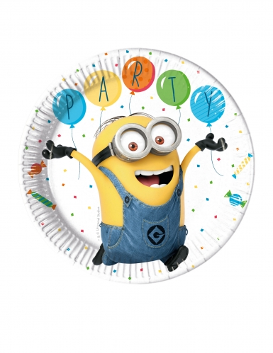 8 Assiettes en carton Minions ballons party™ 23 cm