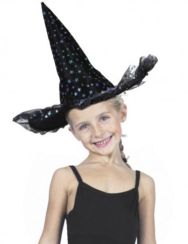 Chapeau sorcière étoiles irisées luxe enfant