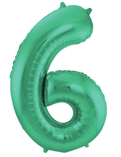 Ballon alluminium vert métallique chiffre 86 cm-6